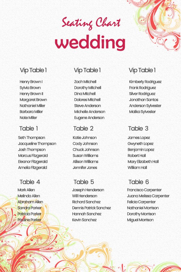 wedding seating chart in psd design