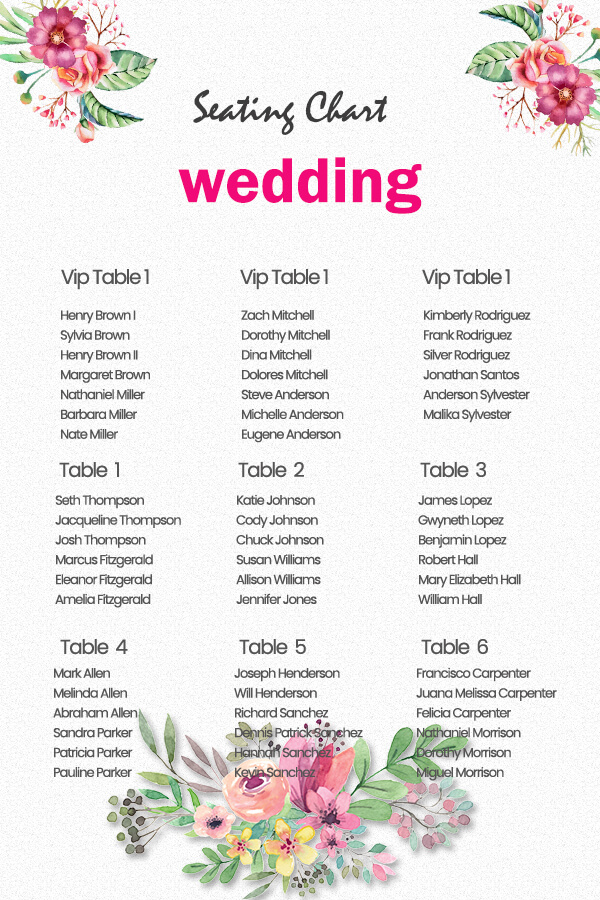 wedding seating chart templates for photoshop