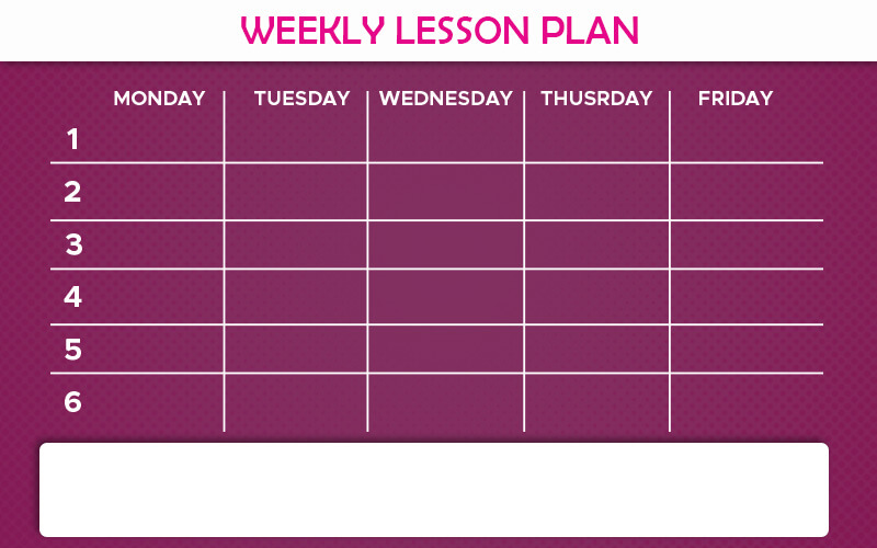weekly lesson plan in psd design