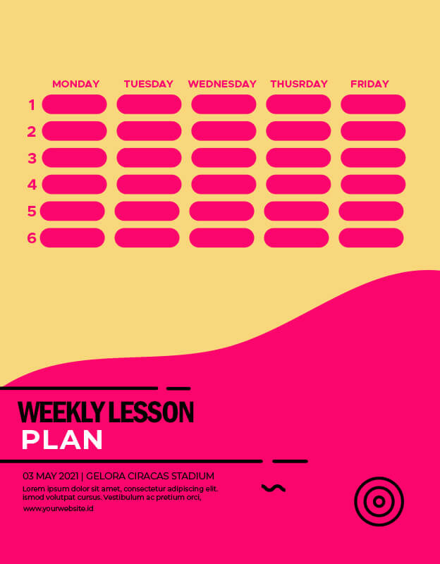 weekly lesson plan templates psd