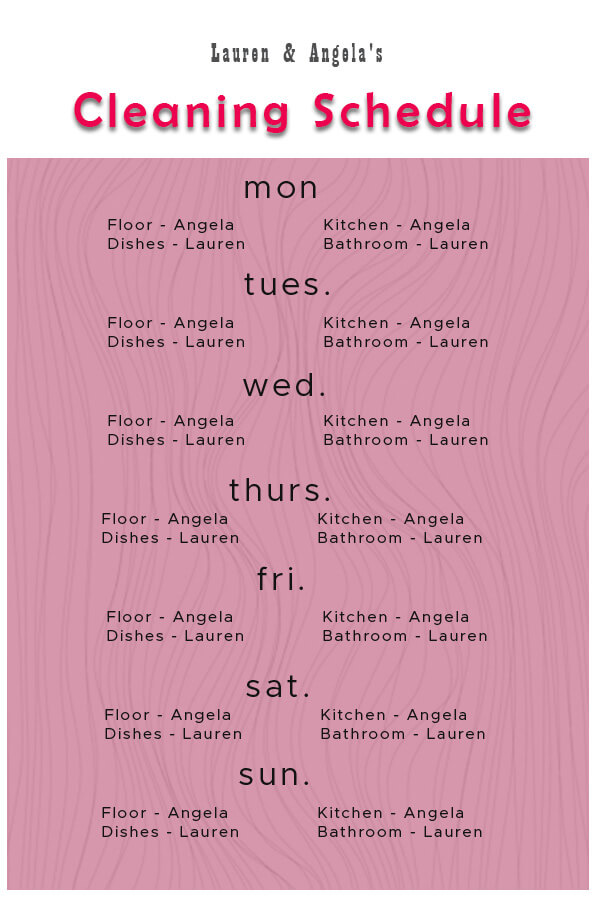 Cleaning Schedule example psd design