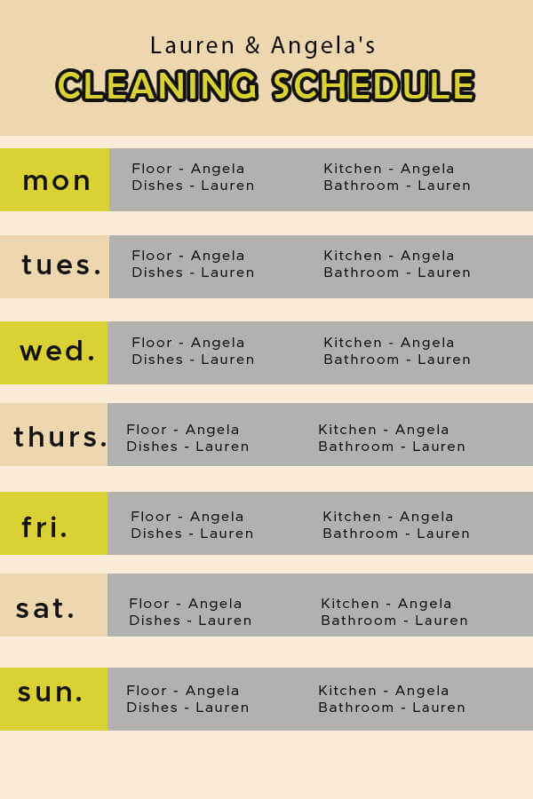 Cleaning Schedule templates for photoshop