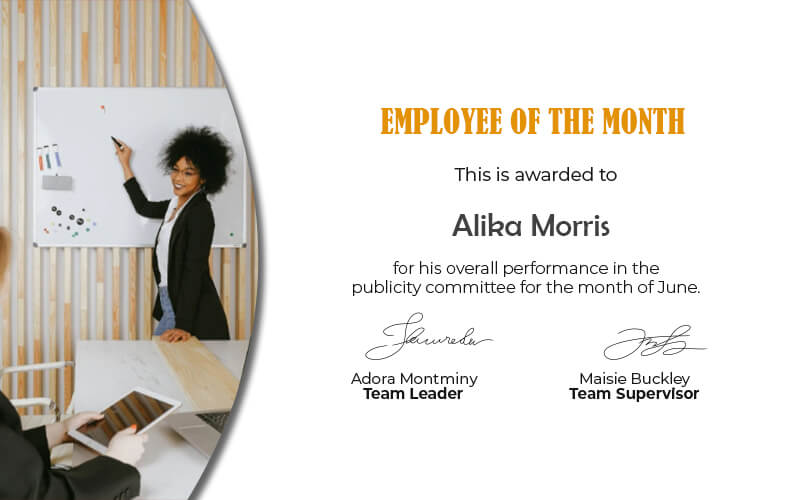 Employee of the Month customizable psd design templates