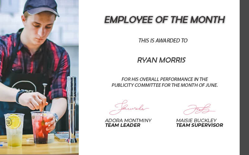 Employee of the Month example psd design