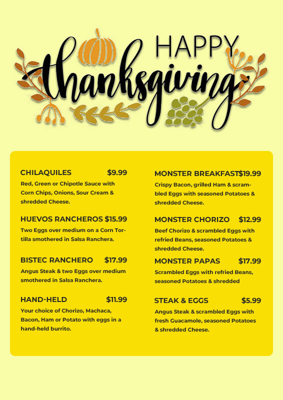 Thanks giving menu in photoshop