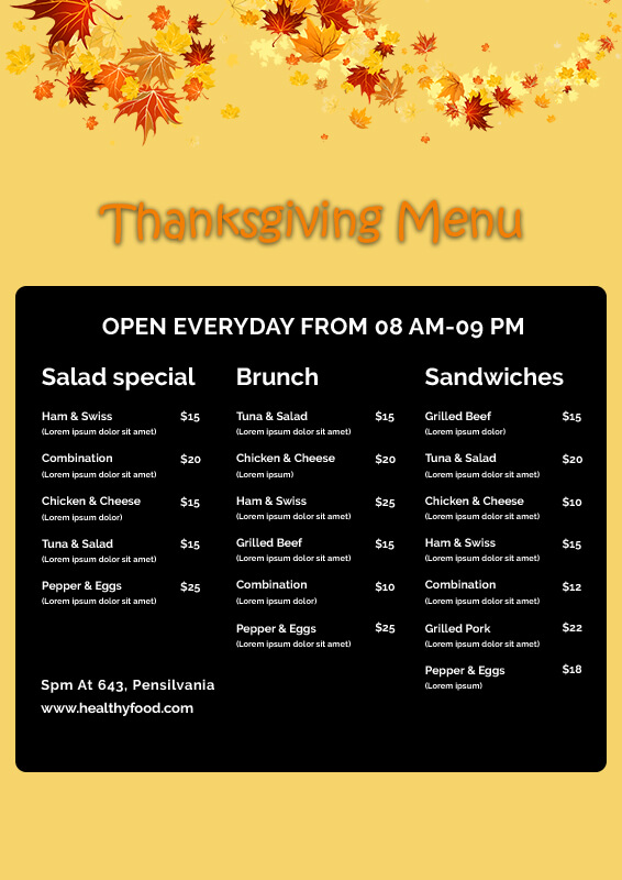 Thanks giving menu templates for photoshop