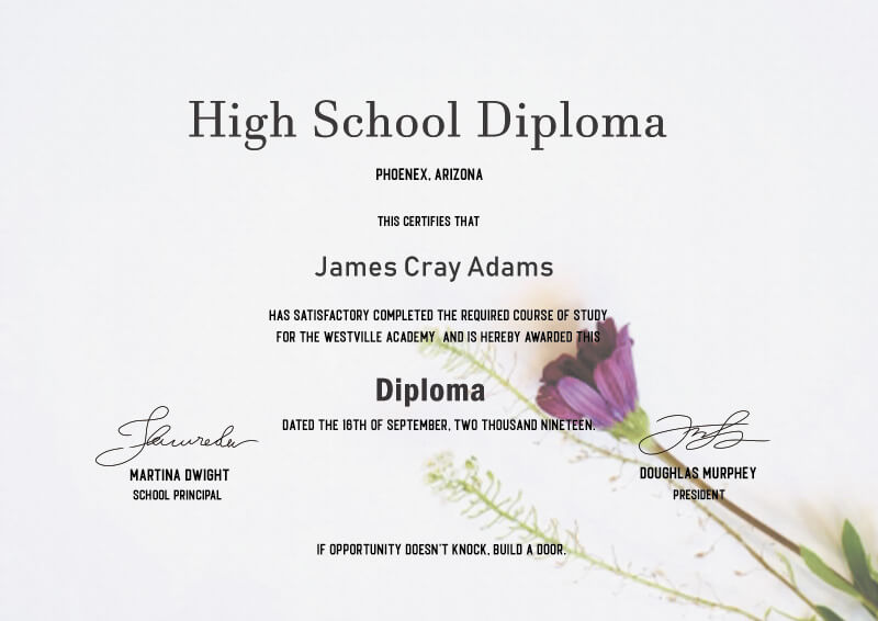 high school diploma in photoshop