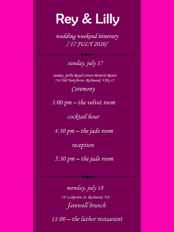 wedding itinerary templates for photoshop