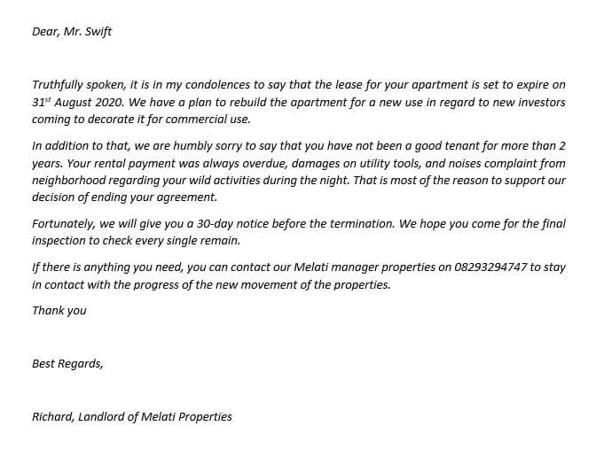 23.Notice of Lease Termination from Landlord to Tenant
