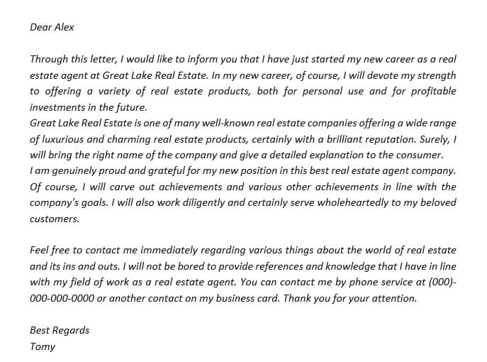 33. Promote Your New Position Using A New Real Estate Agent Announcement Letter