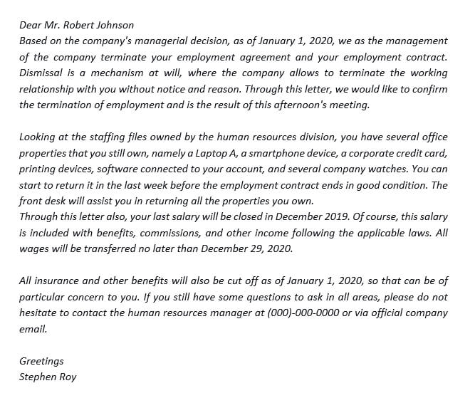 35. Create an At Will Termination Letter to Terminate an Employee