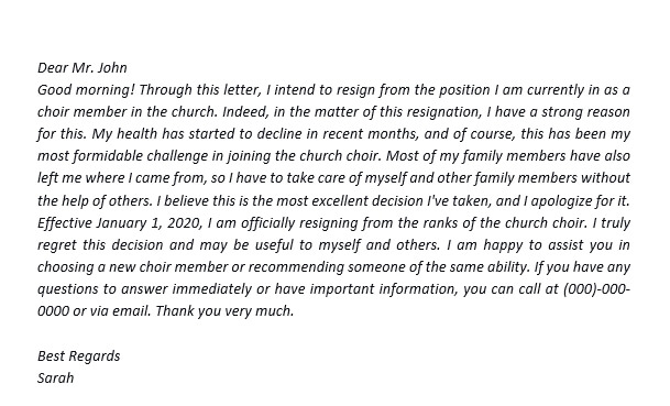 39. How to Make a Resignation Letter from Church Position