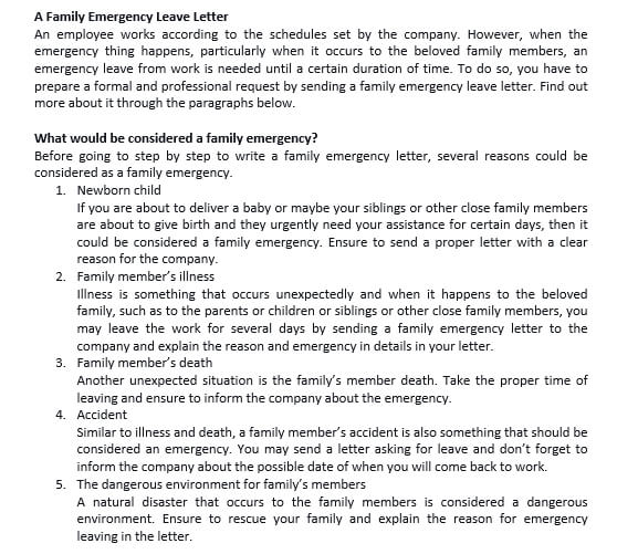 6 A Family Emergency Leave Letter
