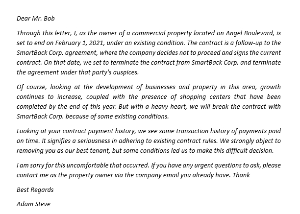 154. Use Our Notice of Lease Termination Letter from Landlord to Tenant for Facilitate Termination of Contract