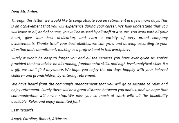 155. Give A Congratulations on Your Retirement Letter to Your Best Coworkers