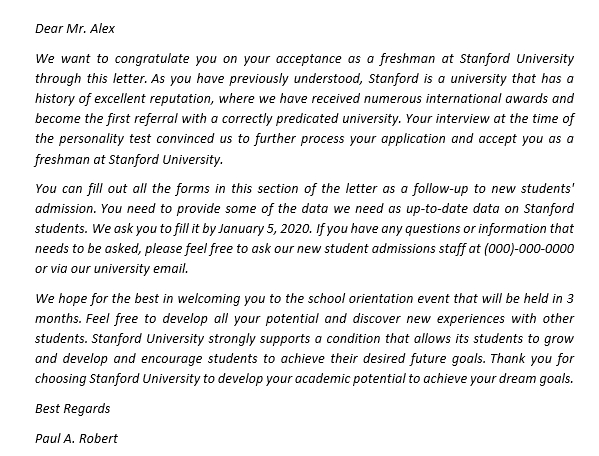 159. Use the Stanford Acceptance Letter For The Good News Of Prospective Fresh Student
